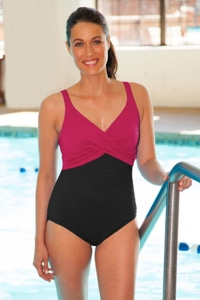 Krinkle Chlorine Resistant Berry Color Block Twist Front One Piece Swimsuit