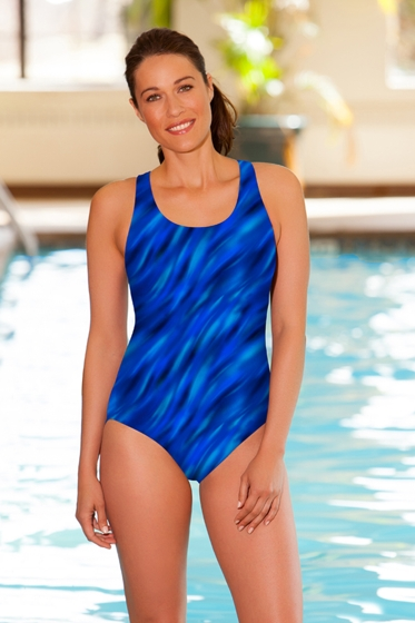 Chlorine Resistant Aquamore Wavy Dream Blue Scoop Neck One Piece Swimsuit