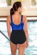 Chlorine Resistant Aquamore Wavy Dream Blue Print Block High Neck One Piece Swimsuit