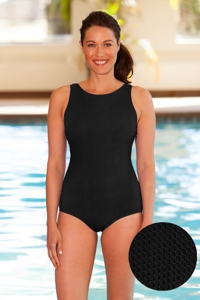 Aquamore Chlorine Resistant Black High Neck One Piece Textured Swimsuit