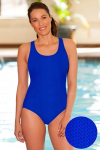 Aquamore Chlorine Resistant Azure Scoop Neck One Piece Textured Swimsuit