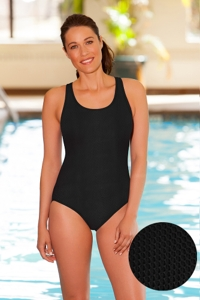 Aquamore Chlorine Resistant Black Scoop Neck One Piece Textured Swimsuit
