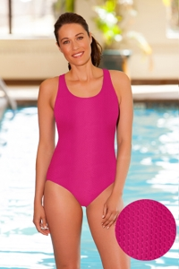 Aquamore Chlorine Resistant Pink Scoop Neck One Piece Textured Swimsuit