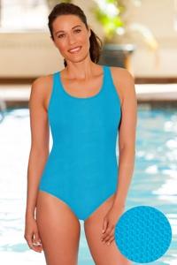Aquamore Chlorine Resistant Scoop Neck One Piece Textured Swimsuit