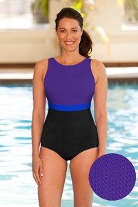 Aquatex by Aquamore Chlorine Resistant Purple, Azure and Black Color Block High Neck One Piece Textured Swimsuit
