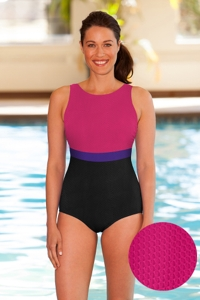 Aquamore Chlorine Resistant Pink, Purple and Black Color Block High Neck One Piece Textured Swimsuit