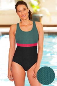 Aquamore Chlorine Resistant Color Block Scoop Neck One Piece Textured Swimsuit