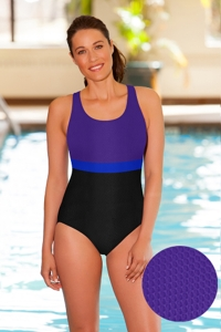 Aquamore Chlorine Resistant Purple, Azure and Black Color Block Scoop Neck One Piece Textured Swimsuit