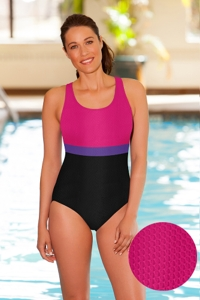 Aquamore Chlorine Resistant Pink, Purple and Black Color Block Scoop Neck One Piece Textured Swimsuit