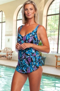 Chlorine Resistant Maxine of Hollywood Prairie Dreams Wide Strap Tie Side Sarong One Piece Swimsuit