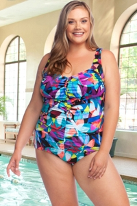 Chlorine Resistant Maxine of Hollywood Fiesta Plus Size Shirred Girl Leg One Piece Swimsuit