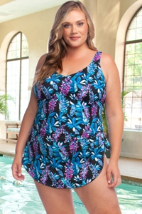 Chlorine Resistant Maxine of Hollywood Prairie Dreams Plus Size Wide Strap Tie Side Sarong One Piece Swimsuit