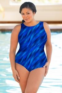 Chlorine Resistant Aquamore Wavy Dream Blue Plus Size High Neck One Piece Swimsuit