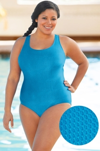 Aquamore Chlorine Resistant Sea Plus Size Scoop Neck One Piece Textured Swimsuit