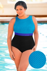 Aquamore Chlorine Resistant Color Block Sea, Azure and Black Plus Size High Neck One Piece Textured Swimsuit