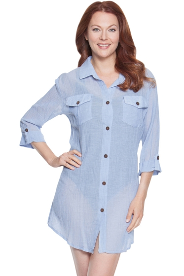 Dotti Sunny Stripe Blue Chambray Shirt Dress