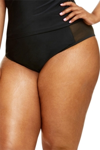 Fashion to Figure Helena Black Mesh Inset High Waist Bikini Bottom