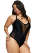 Fashion to Figure Helena Black Mesh Inset One Piece Swimsuit
