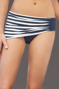 Anne Cole Navy Stripe Asymmetric Swim Skirt