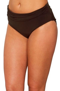Magicsuit Brown Shirred Jersey Brief Swim Bottom