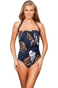 Penbrooke Blue Lion Queen Bandeau-Halter One Piece Swimsuit