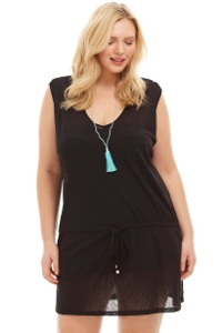 Always For Me Black Plus Size Drawstring Tank Cover Up Dress