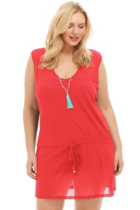 Always For Me Coral Plus Size Drawstring Tank Cover Up Dress