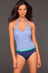 Jag Blue Bel-Air Stripe Halter Swimsuit