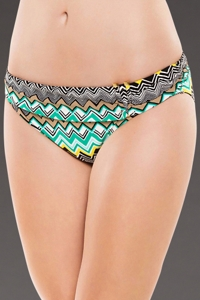 La Blanca Emerald Sahara Chevron Shirred Band Hipster Swim Bottom