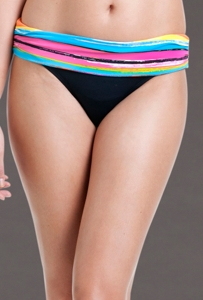 Anne Cole Painterly Stripe Foldover Mid-Rise Brief Swim Bottom