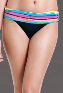 Anne Cole Painterly Stripe Foldover Mid-Rise Brief Swim Bottom