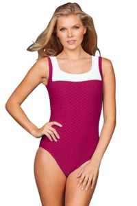 Paula Beachwear Raspberry Color Block Swordfish One Piece Swimsuit