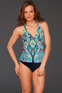 It Figures Marrakesh H-Back Halter One Piece Swimsuit