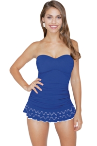 Profile by Gottex Ocean Tutti Fruti Bandeau Laser Cut Swimdress