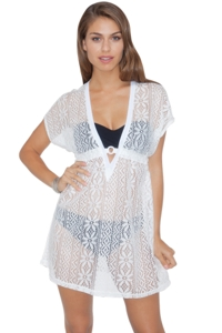 Profile by Gottex White Tutti Fruti Crochet Tunic