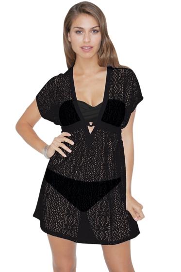 Profile by Gottex Black Tutti Fruti Crochet Tunic