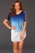Raviya Blue Tie Dye Lattice Sleeve Cage Dress