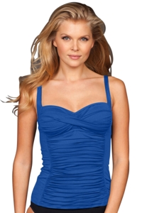 Blue Twist Front Shirred Tankini Top