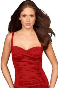 Red Twist Front Shirred Tankini Top