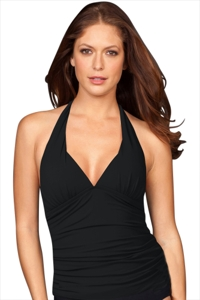 Black Shirred Halter Tankini Top