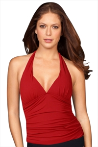 Solere Red Shirred Halter Tankini Top