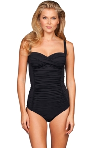 Kallure Black Twist Front Underwire One Piece Swimsuit