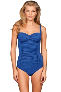 Kallure Blue Twist Front Underwire One Piece Swimsuit