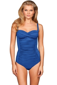 Kallure Blue DD-Cup Twist Front Underwire One Piece Swimsuit