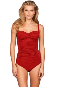 Kallure Red DD-Cup Twist Front Underwire One Piece Swimsuit