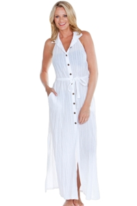 Dotti White Stripe Sensation Halter Maxi Dress