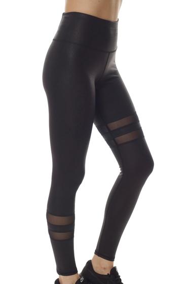 X by Gottex Black Vegan Leather High Waisted Contrast Stripe Legging