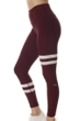 X by Gottex Wine and White High Waisted Contrast Stripe Legging