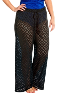 Always For Me Black Plus Size Lattice Beach Cover Up Pant