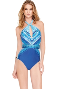Gottex Blue Jasmine High Neck One Piece Swimsuit